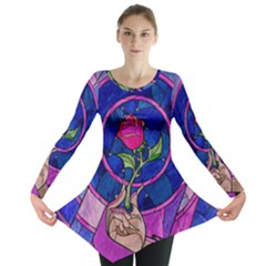 Enchanted Rose Stained Glass Long Sleeve Tunic  by Onesevenart