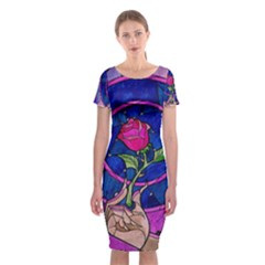 Enchanted Rose Stained Glass Classic Short Sleeve Midi Dress by Onesevenart