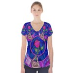 Enchanted Rose Stained Glass Short Sleeve Front Detail Top