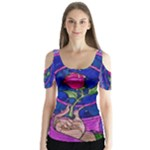 Enchanted Rose Stained Glass Butterfly Sleeve Cutout Tee