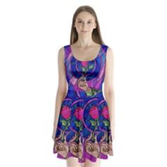 Enchanted Rose Stained Glass Split Back Mini Dress  by Onesevenart