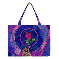 Enchanted Rose Stained Glass Medium Tote Bag by Onesevenart