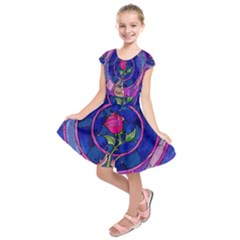 Enchanted Rose Stained Glass Kids  Short Sleeve Dress by Onesevenart