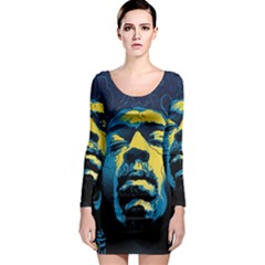 Gabz Jimi Hendrix Voodoo Child Poster Release From Dark Hall Mansion Long Sleeve Bodycon Dress by Onesevenart