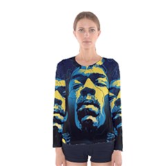 Gabz Jimi Hendrix Voodoo Child Poster Release From Dark Hall Mansion Women s Long Sleeve Tee by Onesevenart