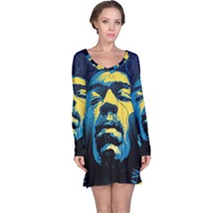 Gabz Jimi Hendrix Voodoo Child Poster Release From Dark Hall Mansion Long Sleeve Nightdress by Onesevenart