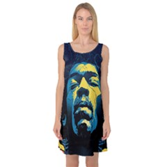 Gabz Jimi Hendrix Voodoo Child Poster Release From Dark Hall Mansion Sleeveless Satin Nightdress by Onesevenart