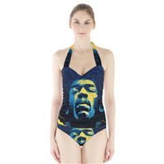 Gabz Jimi Hendrix Voodoo Child Poster Release From Dark Hall Mansion Halter Swimsuit by Onesevenart