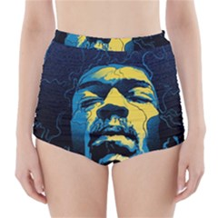 Gabz Jimi Hendrix Voodoo Child Poster Release From Dark Hall Mansion High Waisted Bikini Bottoms by Onesevenart