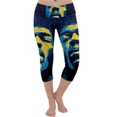 Gabz Jimi Hendrix Voodoo Child Poster Release From Dark Hall Mansion Capri Yoga Leggings by Onesevenart