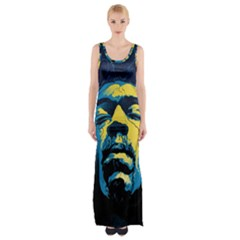 Gabz Jimi Hendrix Voodoo Child Poster Release From Dark Hall Mansion Maxi Thigh Split Dress by Onesevenart