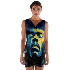 Gabz Jimi Hendrix Voodoo Child Poster Release From Dark Hall Mansion Wrap Front Bodycon Dress by Onesevenart