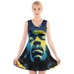 Gabz Jimi Hendrix Voodoo Child Poster Release From Dark Hall Mansion V-Neck Sleeveless Skater Dress
