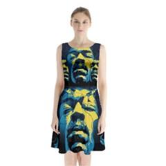 Gabz Jimi Hendrix Voodoo Child Poster Release From Dark Hall Mansion Sleeveless Chiffon Waist Tie Dress by Onesevenart