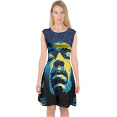 Gabz Jimi Hendrix Voodoo Child Poster Release From Dark Hall Mansion Capsleeve Midi Dress by Onesevenart