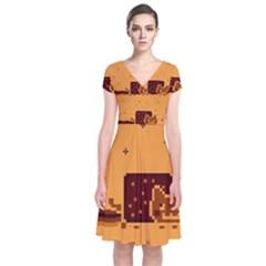 Nyan Cat Vintage Short Sleeve Front Wrap Dress by Onesevenart