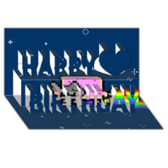 Nyan Cat Happy Birthday 3d Greeting Card (8x4) by Onesevenart