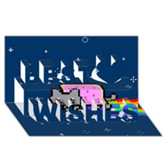 Nyan Cat Best Wish 3d Greeting Card (8x4) by Onesevenart