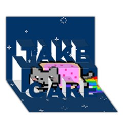 Nyan Cat Take Care 3d Greeting Card (7x5) by Onesevenart