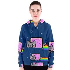 Nyan Cat Women s Zipper Hoodie by Onesevenart