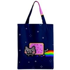 Nyan Cat Zipper Classic Tote Bag by Onesevenart