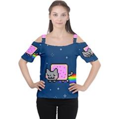 Nyan Cat Women s Cutout Shoulder Tee by Onesevenart