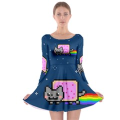 Nyan Cat Long Sleeve Skater Dress by Onesevenart