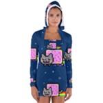 Nyan Cat Women s Long Sleeve Hooded T-shirt
