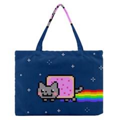 Nyan Cat Medium Zipper Tote Bag by Onesevenart