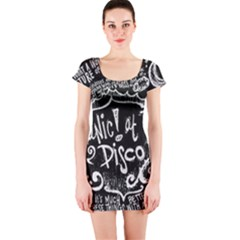 Panic ! At The Disco Lyric Quotes Short Sleeve Bodycon Dress by Onesevenart