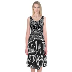 Panic ! At The Disco Lyric Quotes Midi Sleeveless Dress by Onesevenart