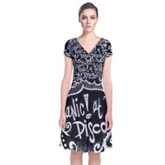 Panic ! At The Disco Lyric Quotes Short Sleeve Front Wrap Dress by Onesevenart
