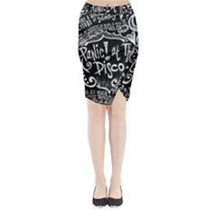 Panic ! At The Disco Lyric Quotes Midi Wrap Pencil Skirt by Onesevenart