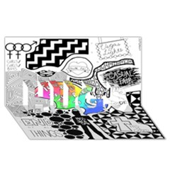 Panic ! At The Disco Hugs 3d Greeting Card (8x4) by Onesevenart