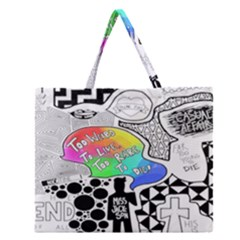 Panic ! At The Disco Zipper Large Tote Bag by Onesevenart