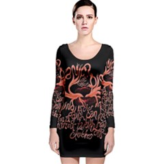 Panic At The Disco   Lying Is The Most Fun A Girl Have Without Taking Her Clothes Long Sleeve Bodycon Dress by Onesevenart