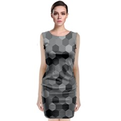 Camo Hexagons in Black and Grey Classic Sleeveless Midi Dress by fashionnarwhal