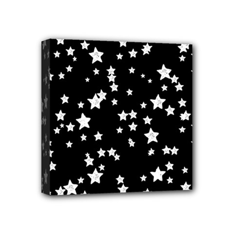 Black And White Starry Pattern Mini Canvas 4  X 4  by DanaeStudio