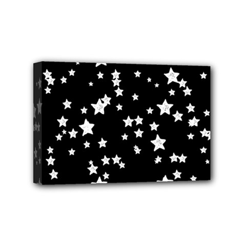 Black And White Starry Pattern Mini Canvas 6  X 4  by DanaeStudio