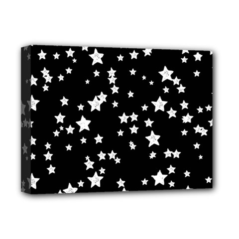 Black And White Starry Pattern Deluxe Canvas 16  X 12   by DanaeStudio