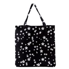 Black And White Starry Pattern Grocery Tote Bag by DanaeStudio