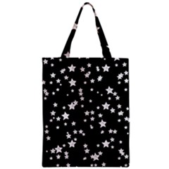 Black And White Starry Pattern Zipper Classic Tote Bag by DanaeStudio