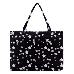 Black And White Starry Pattern Medium Tote Bag by DanaeStudio