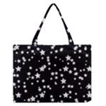 Black And White Starry Pattern Medium Zipper Tote Bag