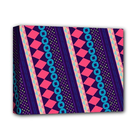 Purple And Pink Retro Geometric Pattern Deluxe Canvas 14  X 11  by DanaeStudio
