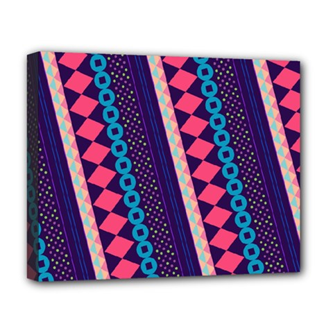 Purple And Pink Retro Geometric Pattern Deluxe Canvas 20  X 16   by DanaeStudio