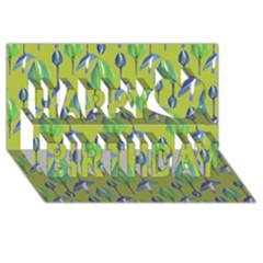 Tropical Floral Pattern Happy Birthday 3d Greeting Card (8x4) by dflcprints