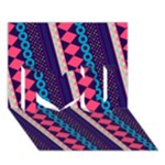 Purple And Pink Retro Geometric Pattern I Love You 3D Greeting Card (7x5)