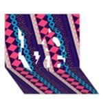 Purple And Pink Retro Geometric Pattern LOVE 3D Greeting Card (7x5)