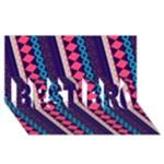 Purple And Pink Retro Geometric Pattern BEST BRO 3D Greeting Card (8x4)